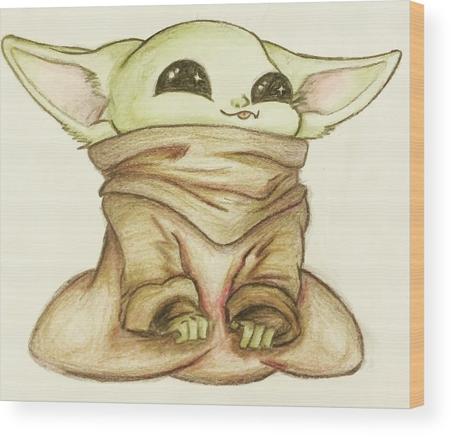 Baby Wood Print featuring the drawing Baby Yoda by Tejay Nichols