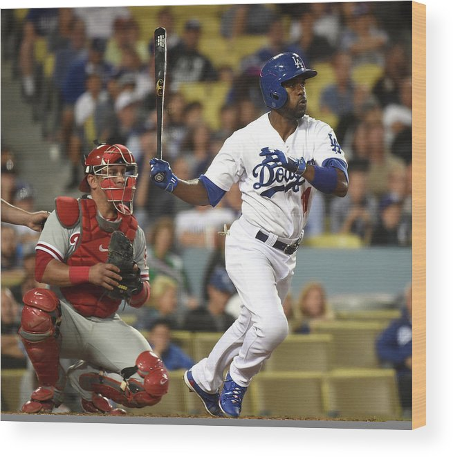 People Wood Print featuring the photograph Carlos Ruiz and Jimmy Rollins by Harry How