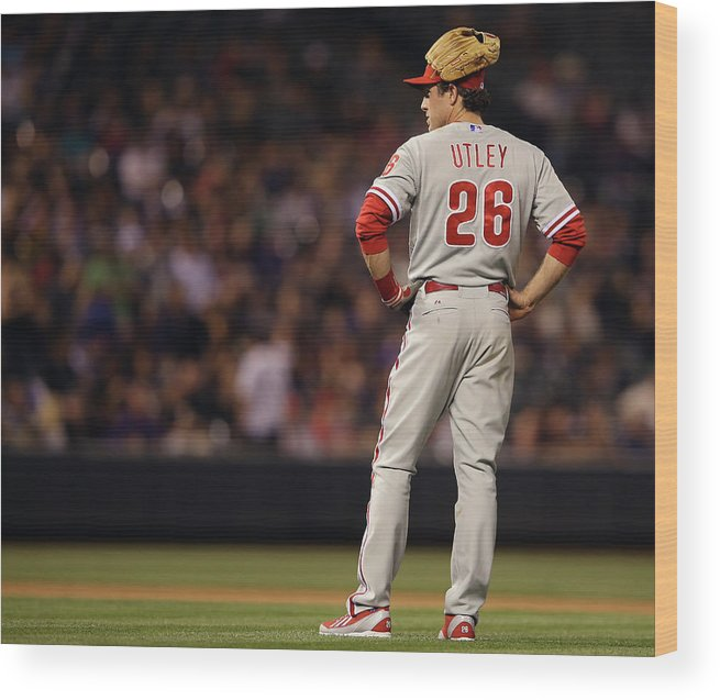 Baseball Pitcher Wood Print featuring the photograph Chase Utley by Doug Pensinger