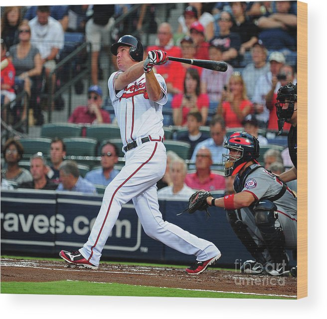 Atlanta Wood Print featuring the photograph Chipper Jones by Scott Cunningham