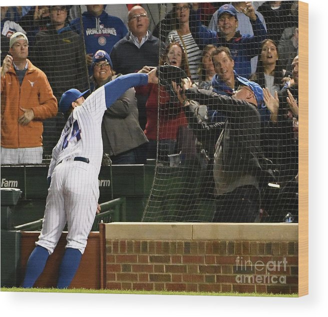 Ninth Inning Wood Print featuring the photograph Francisco Cervelli and Anthony Rizzo by David Banks