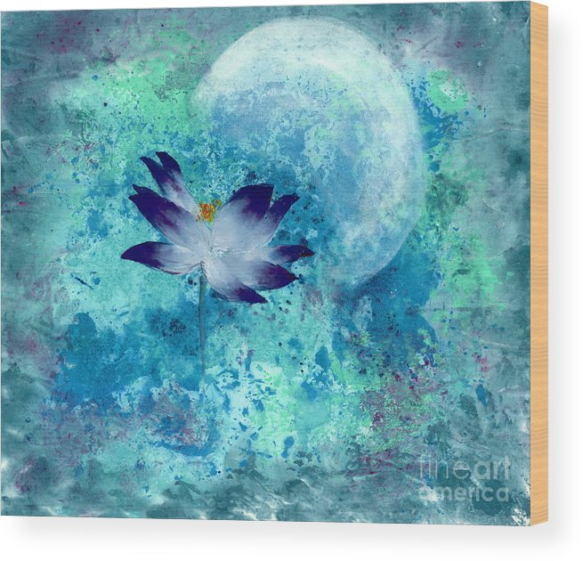 Under The Silver Moon Wood Print featuring the painting Lotus Moon by Mui-Joo Wee