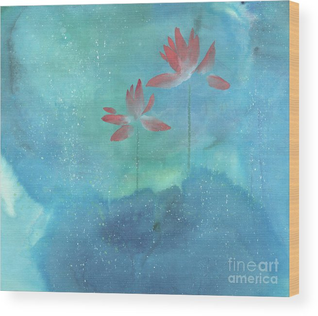 Lotus Emerged Out Of The Sludge Wood Print featuring the painting Luminous by Mui-Joo Wee