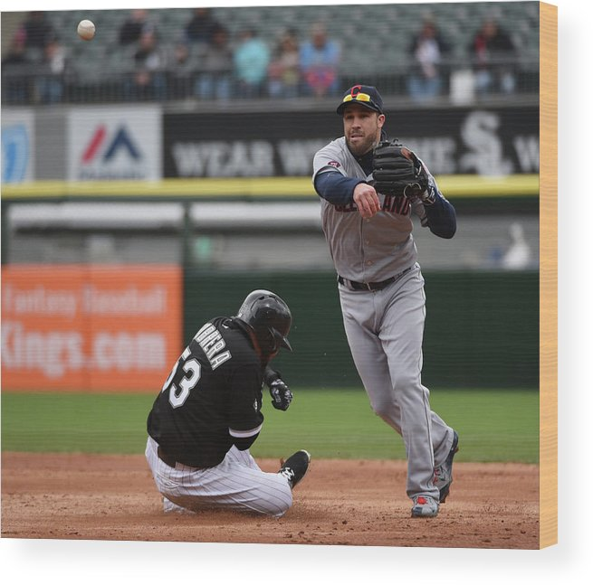 American League Baseball Wood Print featuring the photograph Melky Cabrera and Jason Kipnis by David Banks