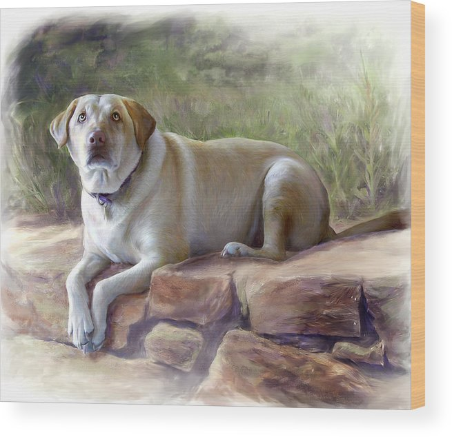 Dog Wood Print featuring the painting Restrained Energy- Yellow Labrador Retriever Portrait by Connie Moses