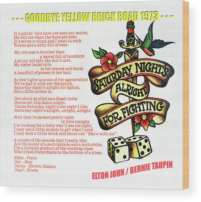 Rock And Roll Wood Print featuring the mixed media Saturday Nights Alright for Fighting 1973 by David Lee Thompson