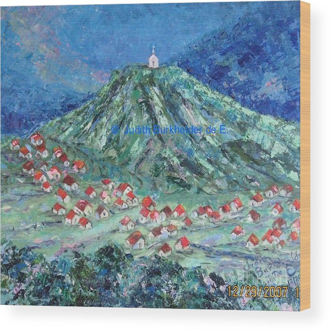 Landscape Wood Print featuring the painting Village Church - SOLD by Judith Espinoza