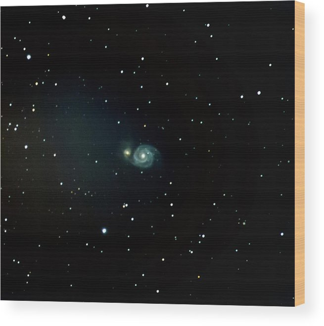 Astrophotography Wood Print featuring the photograph Whirlpool Galaxy / M51 by Nunzio Mannino