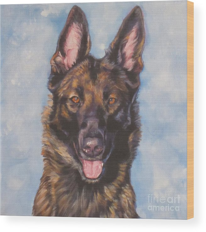 Belgian Malinois Wood Print featuring the painting Belgian Malinois by Lee Ann Shepard