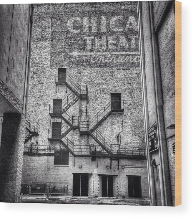 Alley Wood Print featuring the photograph Chicago Theatre Alley Entrance Photo by Paul Velgos