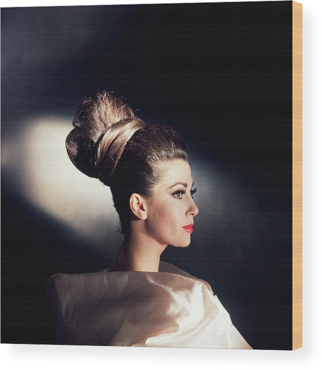 Studio Shot Wood Print featuring the photograph Model Wearing Hairpiece by Horst P. Horst