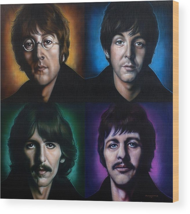 The Beatles Wood Print featuring the painting The Beatles by Timothy Scoggins