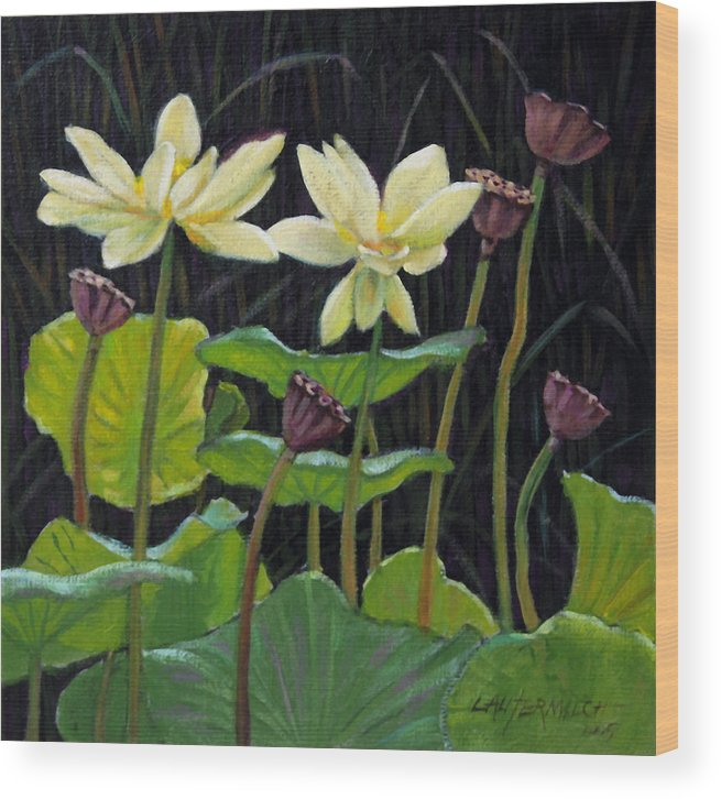 Lotus Wood Print featuring the painting Touching Lotus Blooms by John Lautermilch