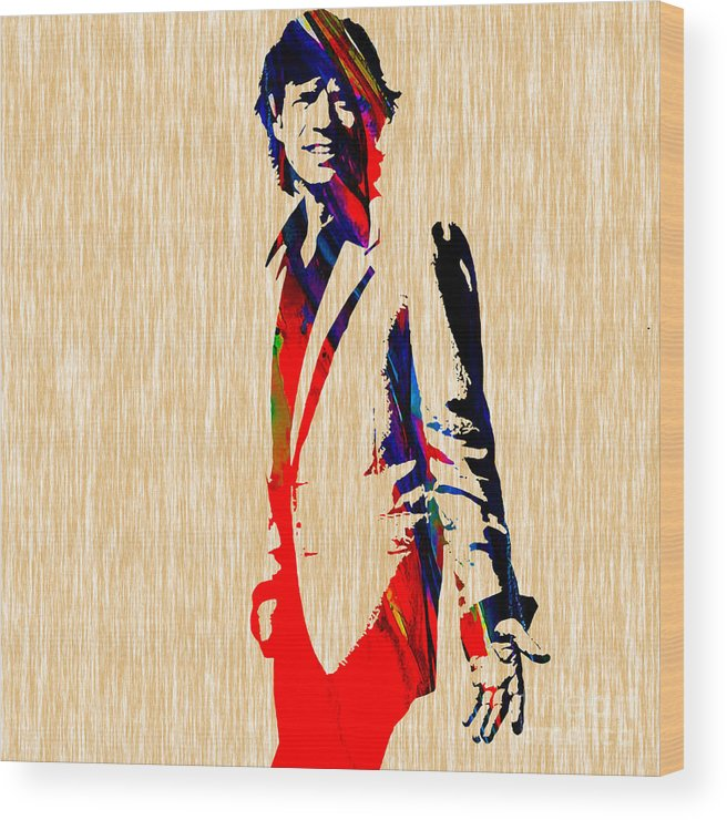 Mick Jagger Wood Print featuring the mixed media Mick Jagger by Marvin Blaine
