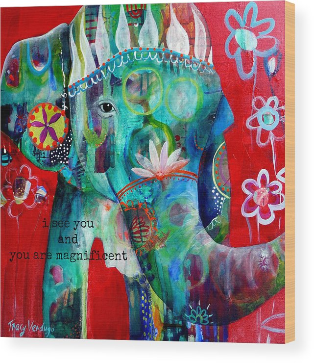 Elephant Wood Print featuring the photograph I see you by Tracy Verdugo