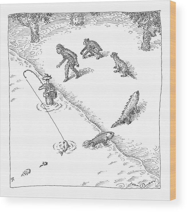 Captionless. Fishing Wood Print featuring the drawing A Fisherman Wading In The Water Catches A Fish by John O'Brien