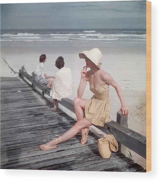 Accessories Wood Print featuring the photograph A Model Sitting On A Ramp by Serge Balkin