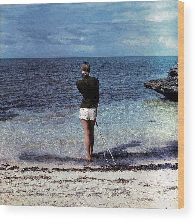Fashion Wood Print featuring the photograph A Woman On A Beach by Serge Balkin