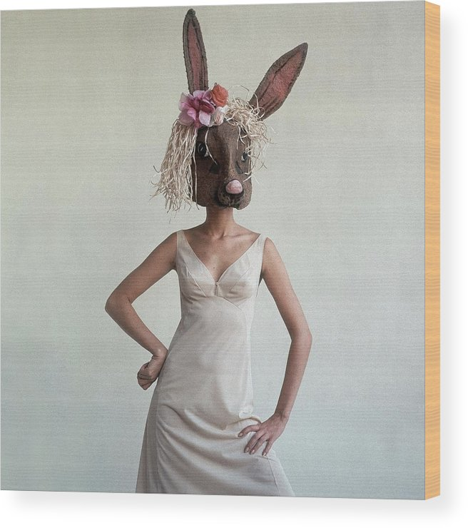 Fashion Wood Print featuring the photograph A Woman Wearing A Rabbit Mask by Gianni Penati