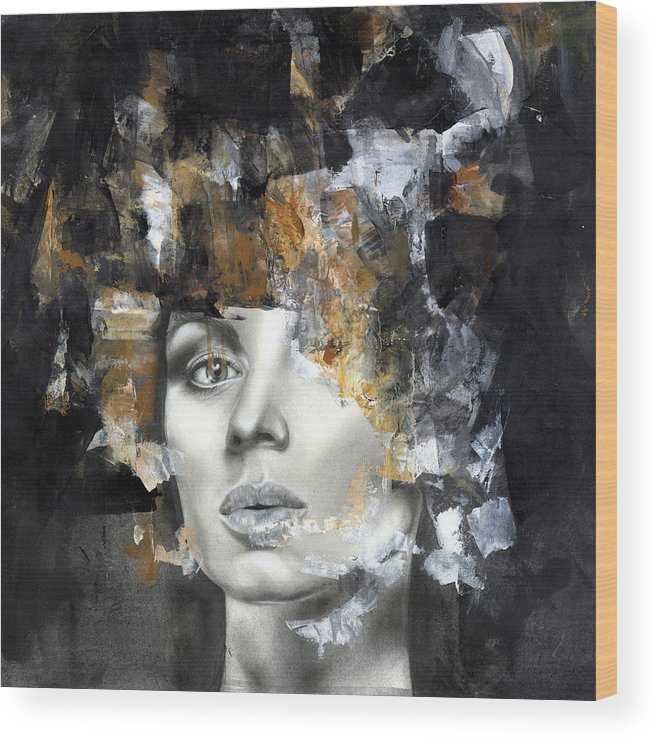 Portrait Wood Print featuring the painting Amber by Patricia Ariel