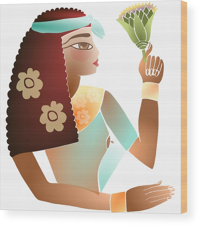 Woman Egyptian Wood Print featuring the digital art Ancient Beauty by Elaine Jackson