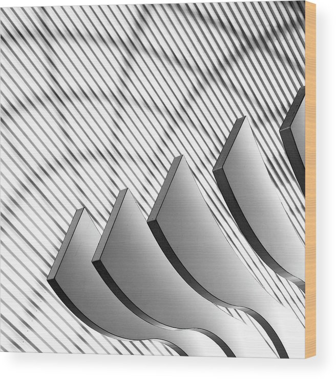 Shadow Wood Print featuring the photograph Architectural Abstract 4 - Interior Of by Lubilub