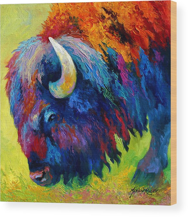 Wildlife Wood Print featuring the painting Bison Portrait II by Marion Rose
