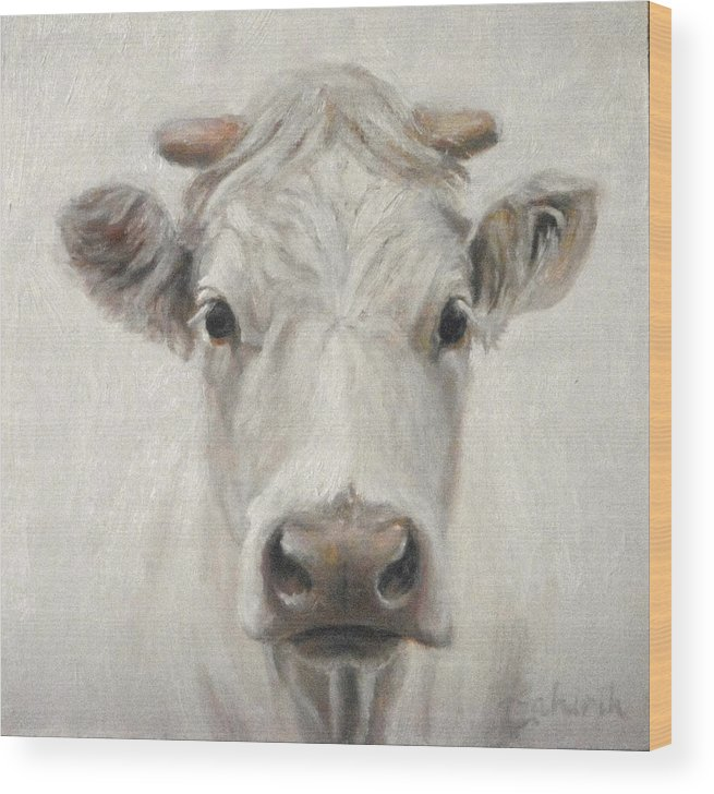 Cow Wood Print featuring the painting Blanca by Tahirih Goffic