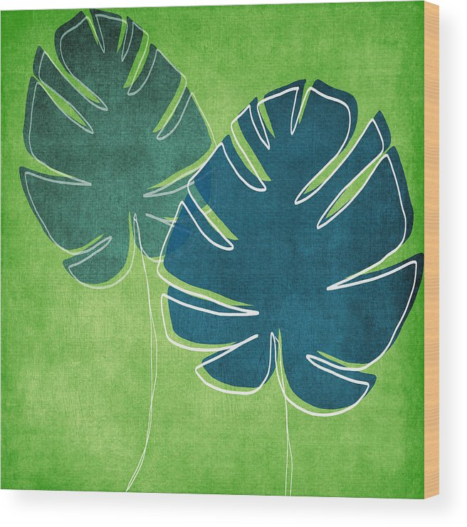 Palm Tree Wood Print featuring the painting Blue and Green Palm Leaves by Linda Woods