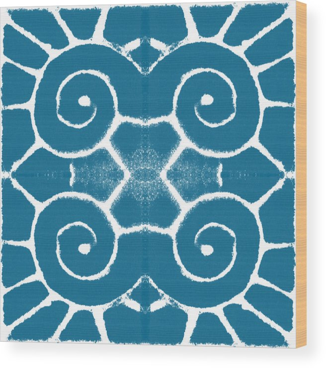 Wave Wood Print featuring the painting Blue and White Wave Tile- abstract art by Linda Woods