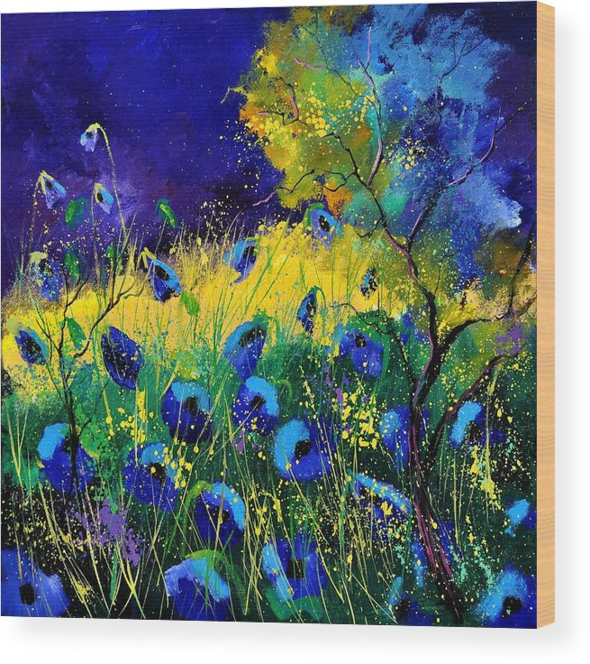 Landscape Wood Print featuring the painting Blue poppies 7741 by Pol Ledent