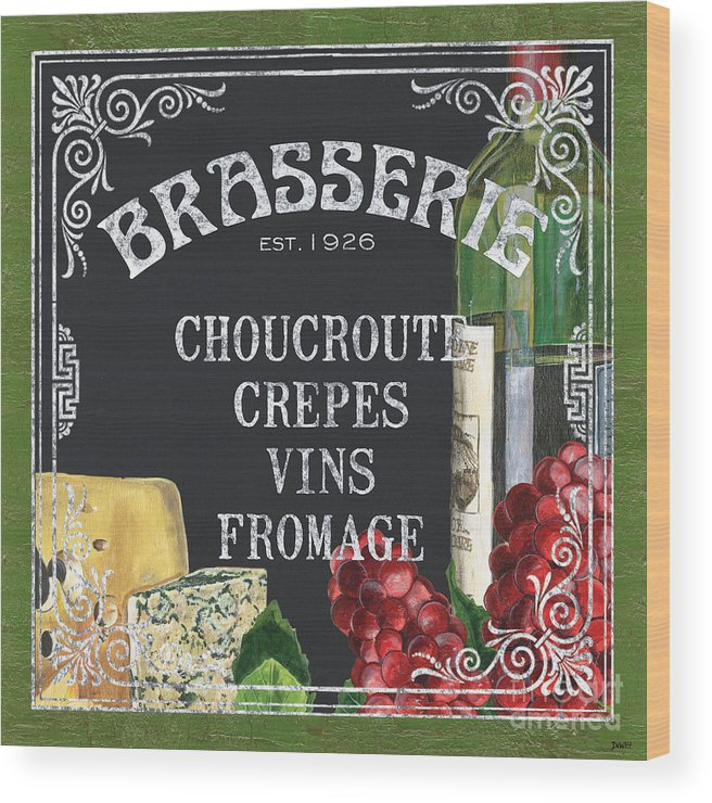 Bistro Wood Print featuring the painting Brasserie Paris by Debbie DeWitt