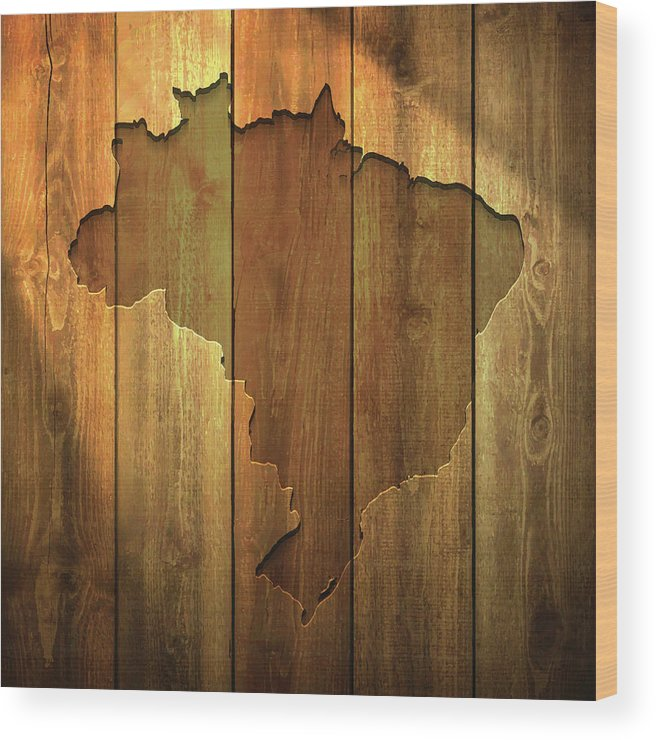 Material Wood Print featuring the digital art Brazil Map On Lit Wooden Background by Bgblue