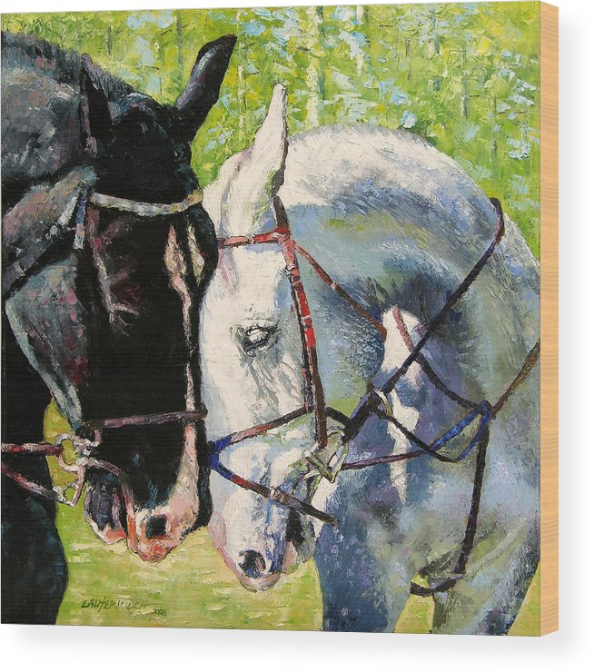Horses Wood Print featuring the painting Bridled Love by John Lautermilch