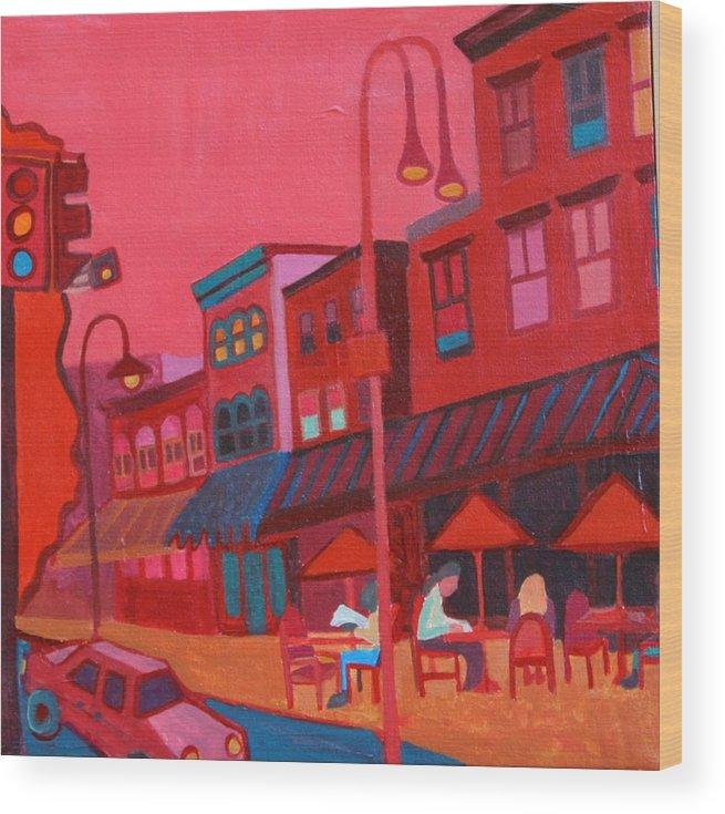 Vermont Wood Print featuring the painting Burlington VT cafe by Debra Bretton Robinson