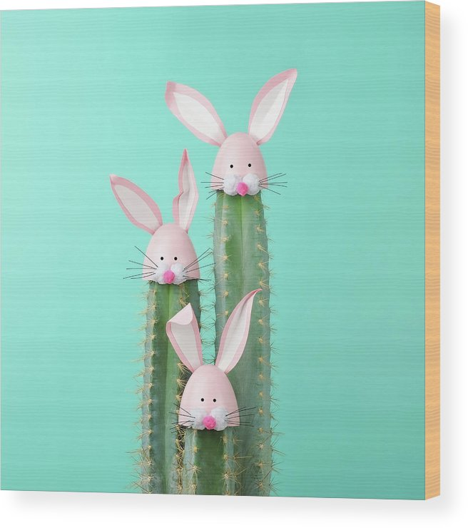 Easter Bunny Wood Print featuring the photograph Cactus With Easter Rabbit Decorations by Juj Winn
