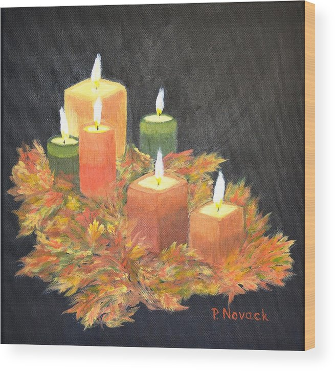 Candle Wood Print featuring the painting Candles In Autumn by Patricia Novack