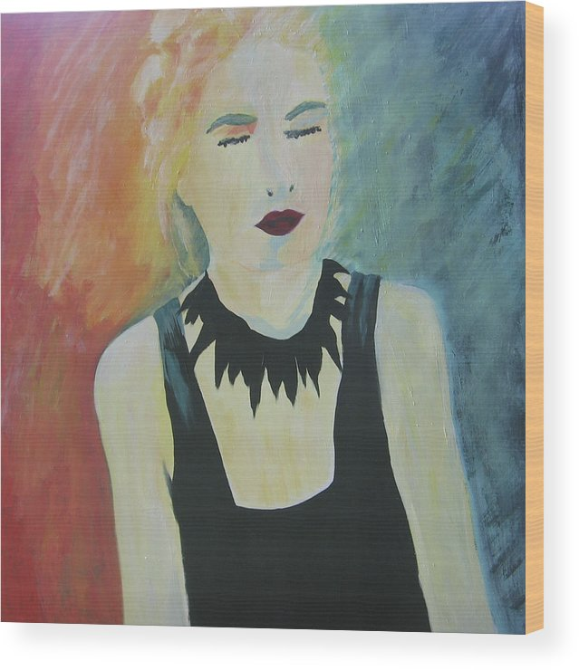 Portrait Wood Print featuring the painting Charlotte by Ingrid Torjesen