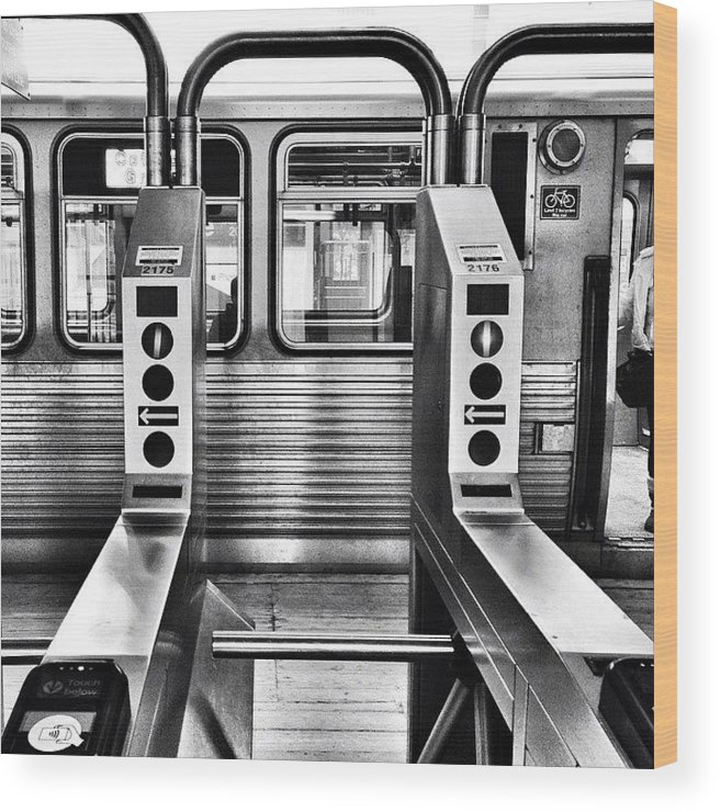 Chicagogram Wood Print featuring the photograph Chicago L Train Gate In Black And White by Paul Velgos