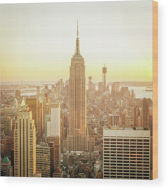Scenics Wood Print featuring the photograph Cityscape Manhattan Sunset New York by Mlenny