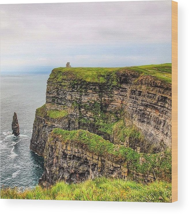 Europe Wood Print featuring the photograph #cliffsofmoher #ireland #landscape by Luisa Azzolini