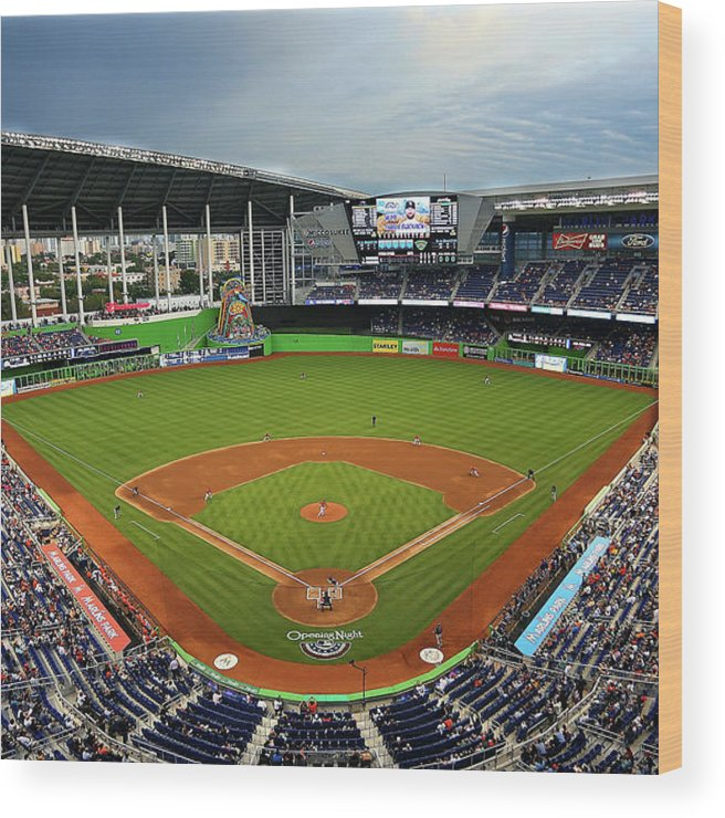 American League Baseball Wood Print featuring the photograph Colorado Rockies V Miami Marlins by Mike Ehrmann