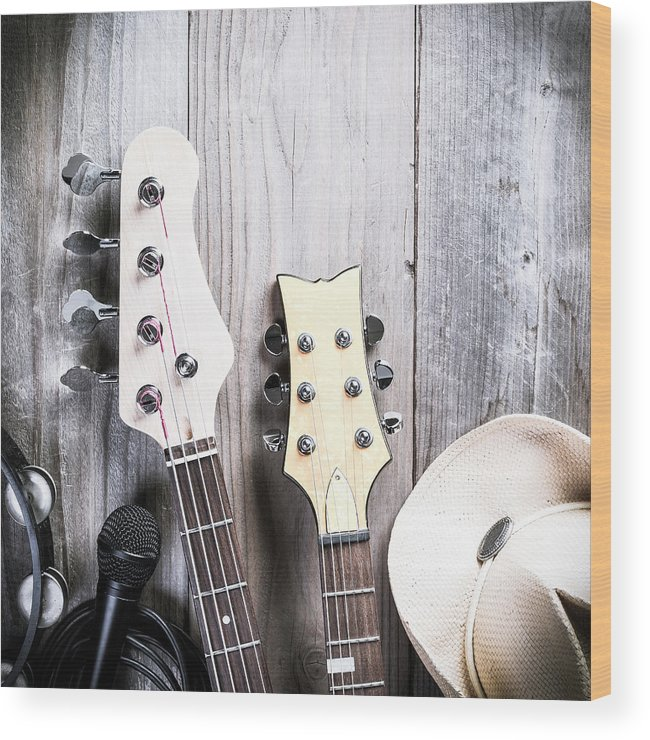 Rock Music Wood Print featuring the photograph Country Music by Bill Oxford