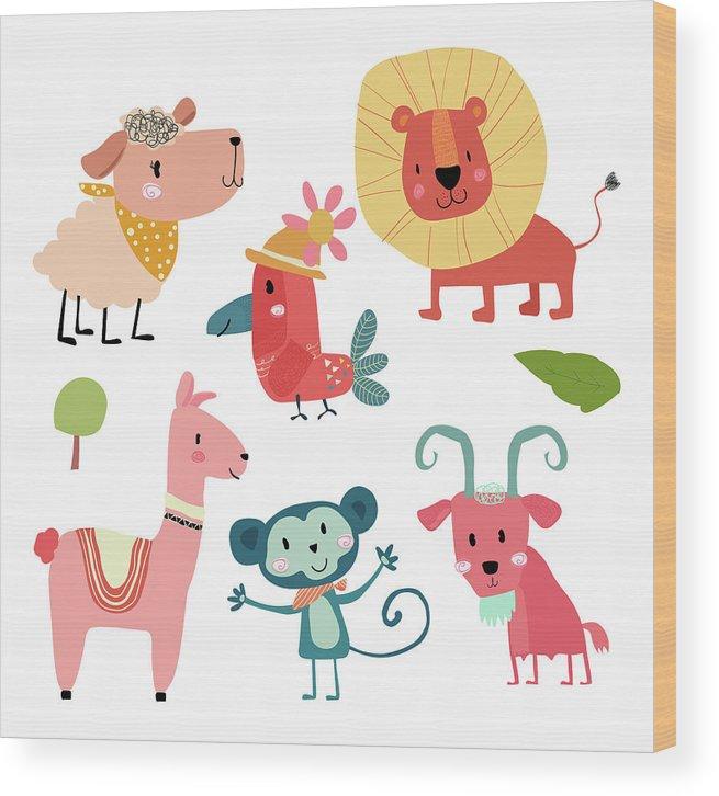 Pets Wood Print featuring the digital art Cute Hand Draw Wild Animal Cartoon by Natsicha
