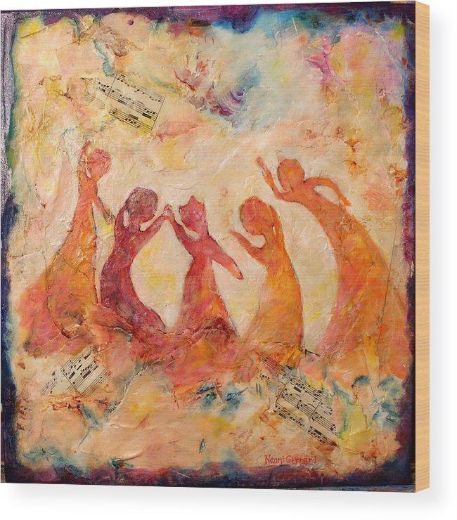 Ladies Wood Print featuring the painting Dancing Music by Naomi Gerrard