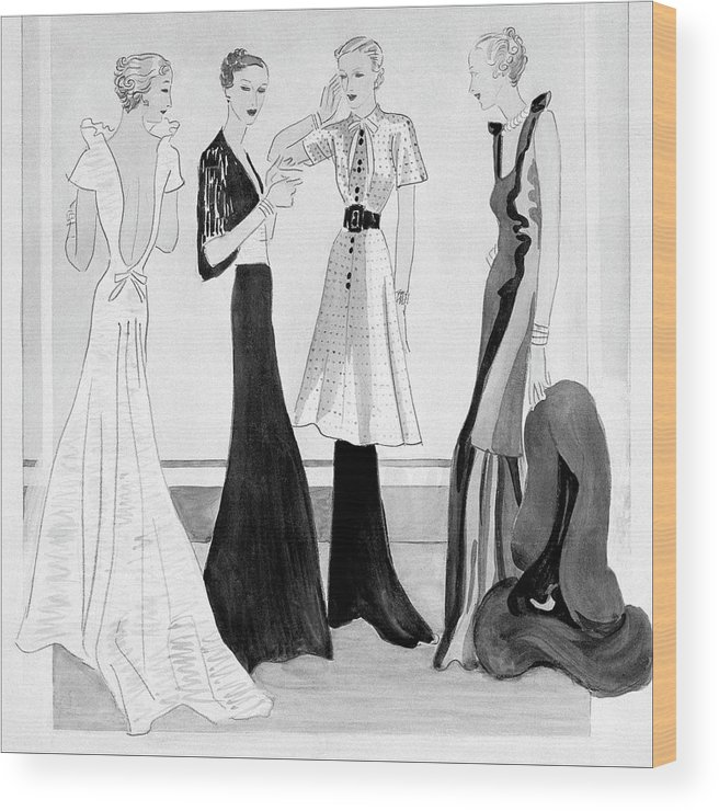 Fashion Wood Print featuring the digital art Drawing Of Four Well-dressed Women by Eduardo Garcia Benito