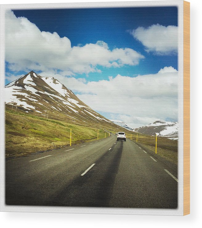 Iceland Wood Print featuring the photograph Driving in Iceland - road and mountain landscape by Matthias Hauser