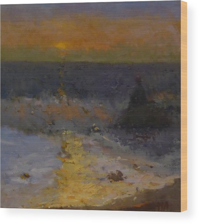Seascape Wood Print featuring the painting Dusk and Sea by Irena Jablonski