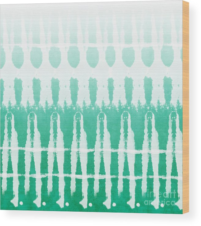 Abstract Wood Print featuring the painting Emerald Ombre by Linda Woods