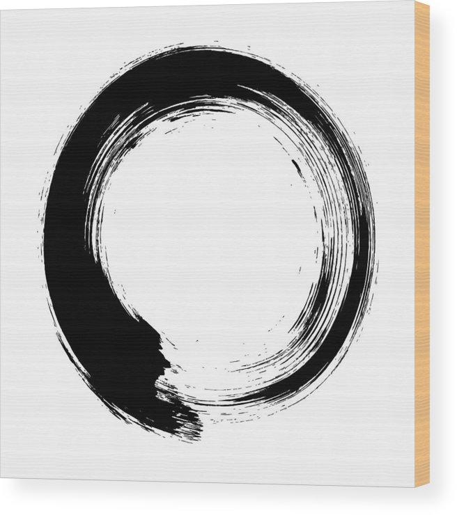 East Wood Print featuring the digital art Enso – Circular Brush Stroke Japanese by Thoth adan